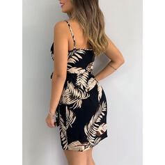 Imprimeu Kolsuz Manşon Deasupra Genunchiului Sexy Wrap/Gecelik Elbiseler