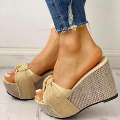 Kvinnor PU Kilklack Sandaler Kilar Peep Toe Tofflor Klackar med Bowknot skor