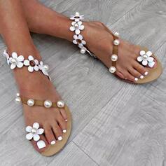 Женский PU Плоский каблук Сандалии Peep Toe с Имитация жемчуга Цветок обувь