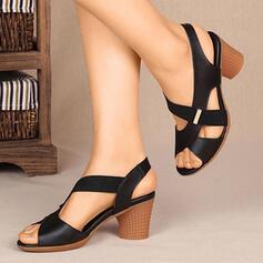 Women's PU Chunky Heel Sandals Pumps With Elastic Band Crisscross shoes
