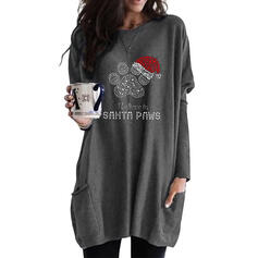 Sequins Figure Pockets Round Neck Long Sleeves Christmas Sweatshirt