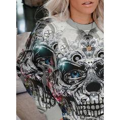 Print Floral Halloween Round Neck Long Sleeves Sweatshirt