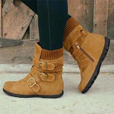Donna PU Senza tacco Ballerine Stivali Stivali altezza media con Fibbia scarpe