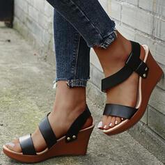 Mulheres PU Plataforma Sandálias Plataforma Calços Peep toe Sapatos abertos com Oca-out Cor sólida sapatos