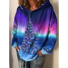 Print Forest Long Sleeves Christmas Sweatshirt