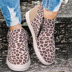 Mulheres PU Sem salto Bota no tornozelo Toe rodada Botas de inverno com Animal da Cópia Zíper sapatos