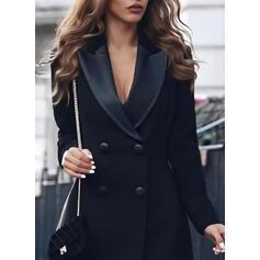 Solid Long Sleeves Sheath Above Knee Little Black/Casual/Elegant Dresses