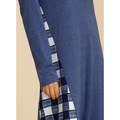 W kratę Długie rękawy Koktajlowa Tunika Casual Midi Sukienki