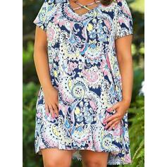 Большой размер Прямые платья Выше колена Boho Повседневная отпуск Платье