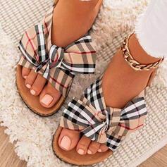 Dla kobiet Material Płaski Obcas Sandały Plaskie Otwarty Nosek Buta Kapcie Round Toe Z Kokarda Kolor splotu Paski obuwie