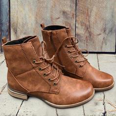 Mulheres PU Salto robusto Botas Martin botas com Aplicação de renda Cor sólida sapatos