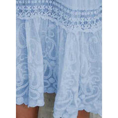 Lace/Solid 3/4 Sleeves Shift Above Knee Casual/Elegant Dresses