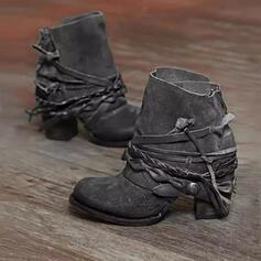 PU Stor Hæl Ankelstøvler Round Toe med Glidelås Flettet Stropp Ensfarget sko