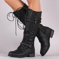 Mulheres PU Salto robusto Botas na panturrilha com Fivela Aplicação de renda Cor sólida sapatos