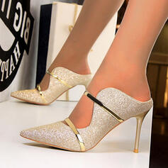 Kvinnor Tyg Stilettklack Pumps Tofflor med Paljetter skor