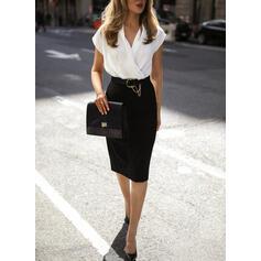 Color Block Short Sleeves Bodycon Knee Length Casual/Elegant Dresses