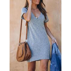 Jednolita Krótkie rękawy Koktajlowa Nad kolana Casual T-shirt Sukienki