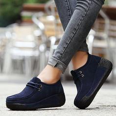 Bayanlar Süet Sivri topuk platform Kapalı Toe Takozlar Ile Bağcıklı ayakkabı ayakkabı