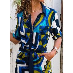 Padrão Geométrico Manga Curta Bainha Comprimento do joelho Casual Camisa Vestidos