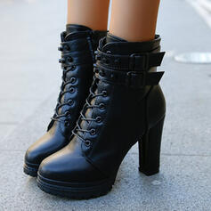 Pentru Femei PU Toc gros Botine Deget rotund cu Fermoar Lace-up Culoare solida pantofi