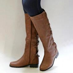 Dla kobiet PU Niski Obcas Obcas Slupek Kozaki Kozaki do kolan Z Klamra Zamek błyskawiczny Sznurowanie obuwie