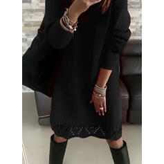 Solid Long Sleeves Shift Knee Length Little Black/Casual Sweater Dresses