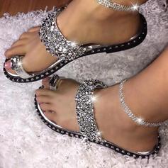 Női PVC Lapos sarok Szandál Papucs -Val Flitter cipő