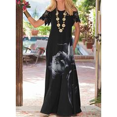 Lace/Print Short Sleeves Shift Casual/Elegant Maxi Dresses