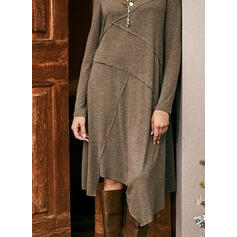 Solid Long Sleeves Shift Tunic Casual Midi Dresses