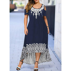 Print Short Sleeves/Cold Shoulder Sleeve A-line Asymmetrical Casual Dresses