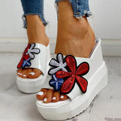 Dla kobiet Dżinsowa Obcas Koturnowy Sandały Platforma Koturny Otwarty Nosek Buta Kapcie Obcasy Z Tkanina Wypalana Nadruk Kwiatowy obuwie