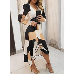 Geometric Print Long Sleeves A-line Elegant Midi Dresses