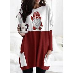 Print Color Block Round Neck Long Sleeves Christmas Sweatshirt