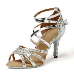 Mulheres Latino Saltos Sandálias Couro Espumante Glitter Latino
