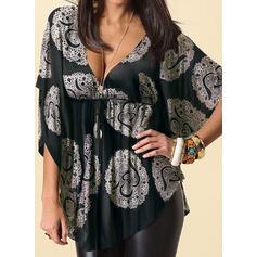 Цветочный Распечатать V шеи 1/2 рукава Повседневная Большой размер Блузы