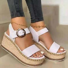 Bayanlar PU Sivri topuk Sandalet Takozlar Peep Toe Ile Toka Katı Renk ayakkabı