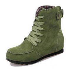 Kvinner Stoff Flat Hæl Flate sko Støvler med Blondér sko