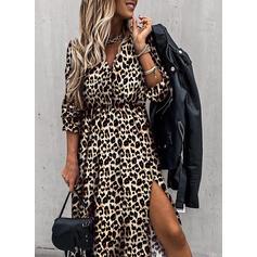 Leopard Lange ermer A-linje Skater Casual Midi Kjoler
