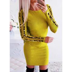 lampart Długie rękawy Bodycon Nad kolana Casual Sukienki