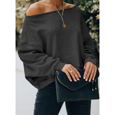 Solid One Shoulder Long Sleeves Sweatshirt