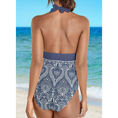 Print Halter V-Neck Sexy Bohemian One-piece Swimsuits