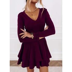 Solid Long Sleeves A-line Above Knee Party/Elegant Skater Dresses