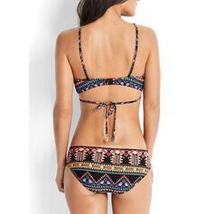 Nadruk Geometryczny Wiązany na szyi Seksowny Kolorowy Bikini Stroje kąpielowe
