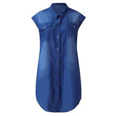 твердый С коротким рукавом сдвиг Выше колена Повседневная/джинсы Рубашка Платья