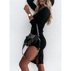 Длинные рукова Bodycon Длина колена Маленький черный/Повседневная Карандаш Платья