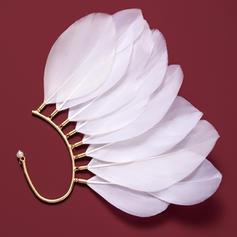 Unik Legering med Fjäder Oäkta Pearl Kvinnor örhängen (Säljs i ett enda stycke)