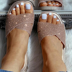 Dla kobiet PVC Płaski Obcas Kapcie Z Byszczący brokat obuwie