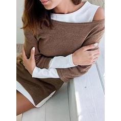 Barevný blok Dlouhé rukávy Splývavé Asymetrické Neformální Rochii