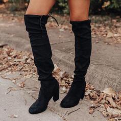 Pentru Femei Piele de Căprioară PU Toc gros Gizme Peste Genunchi Deget rotund cu Lace-up Culoare solida pantofi