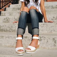 PU Plataforma Sandálias Calços Peep toe Saltos com Fivela sapatos